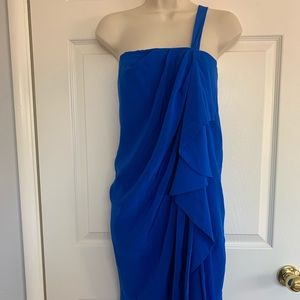 Robert Rodriguez blue silk one shoulder dress
